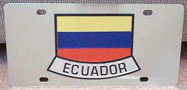 Ecuador flag stainless steel license plate
