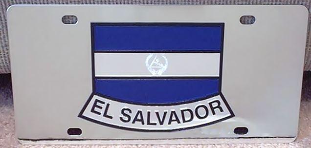 El Salvador flag stainless steel license plate