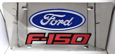 Ford F-150 stainless steel vanity plate red
