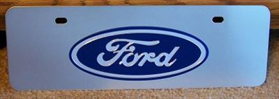 Ford oval blue s/s plate half high