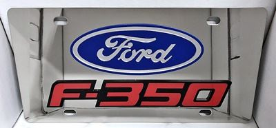 Ford F-350 stainless steel license plate red