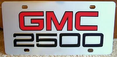 GMC 2500 vanity license plate tag
