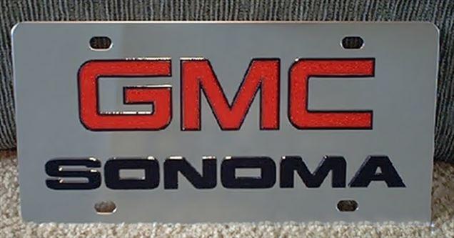 GMC Sonoma vanity license plate tag