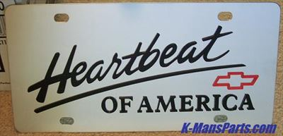 Chevrolet Heartbeat of America vanity license plate car tag