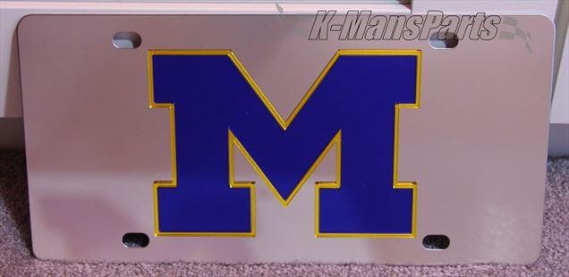 Michigan Wolverines blue vanity license plate car tag