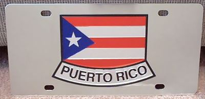 Puerto Rico stainless steel flag license plate