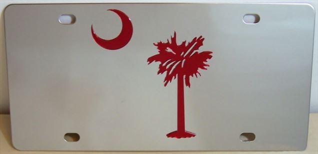 South Carolina flag maroon vanity license plate car tag